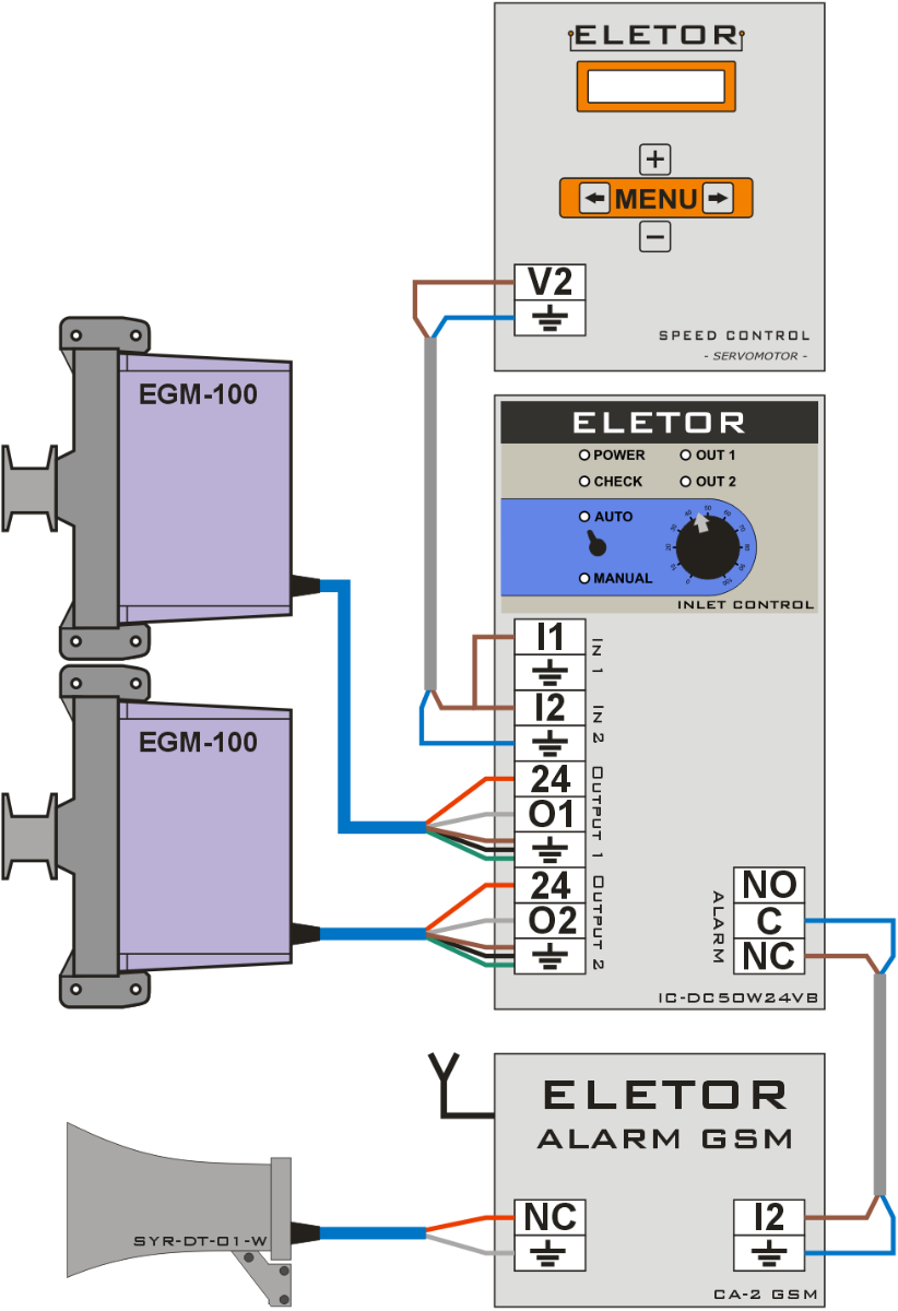 Connecting the EGM-100 or EGM-250 air inlet actuator to the uninterruptible power supply